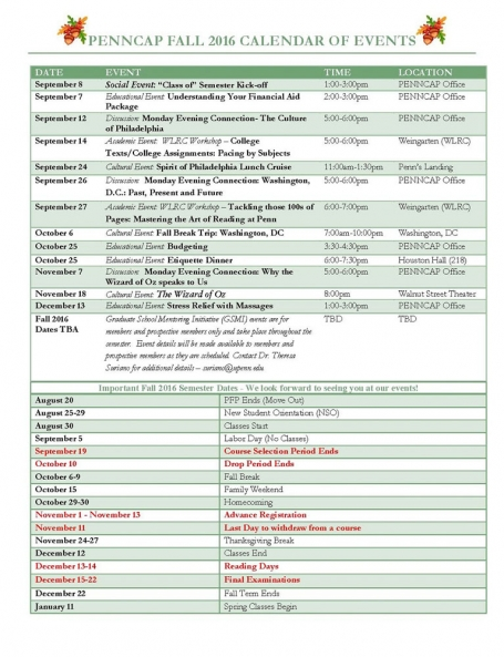 PENNCAP Fall 2016 events calendar