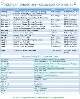 PENNCAP Spring 2017 Calendar of Events